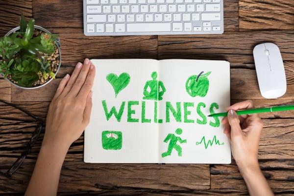 Human Hand doing a slogan of Wellness Concept
