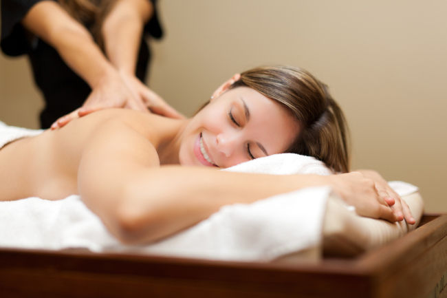 A woman having a massage and a spa