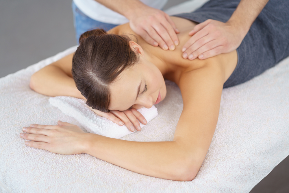A woman having a massage therapy