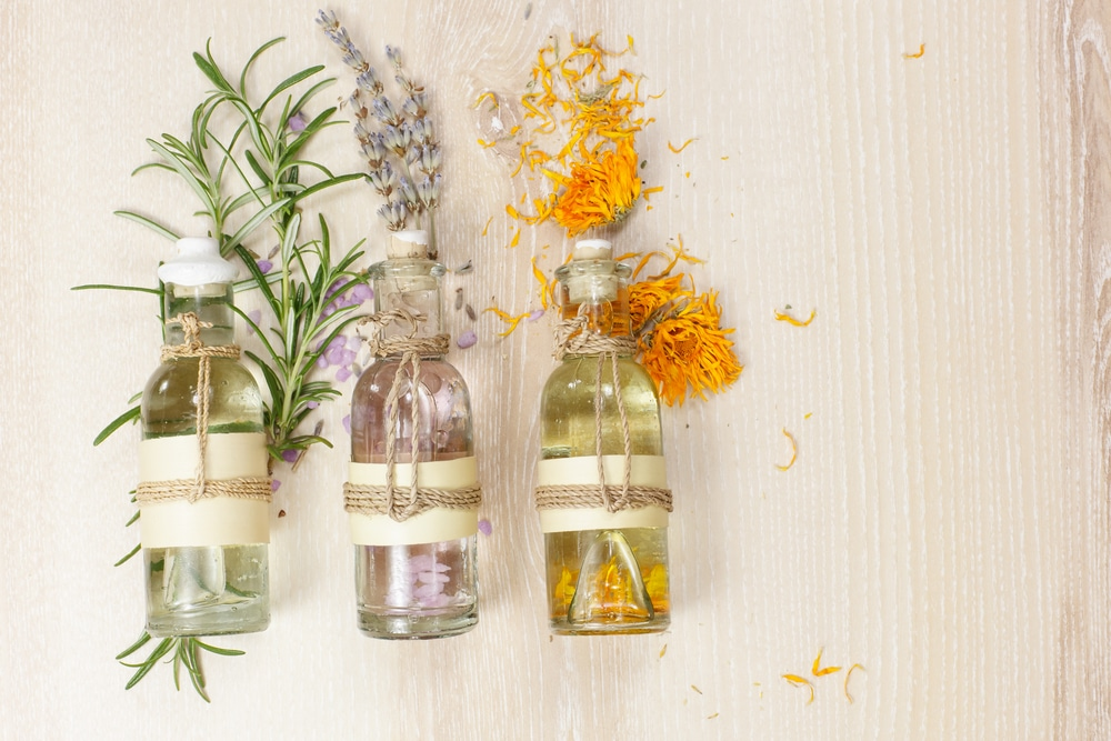 A bunch of herbal essential oil