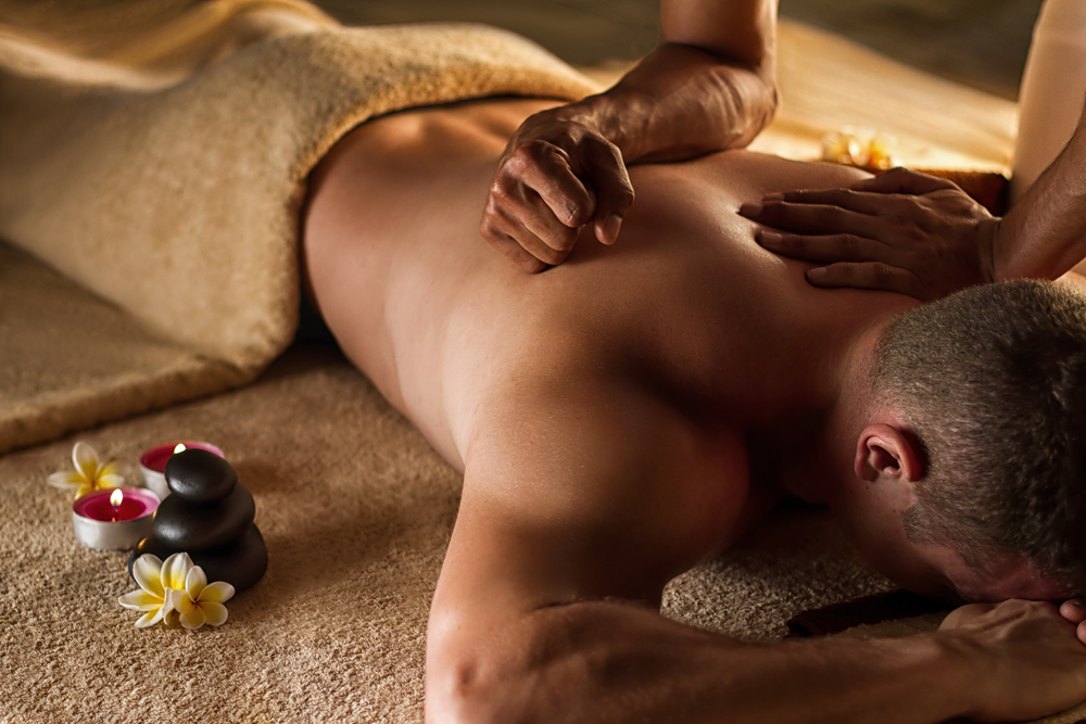 A man having a deep tissue massage in Winston-Salem